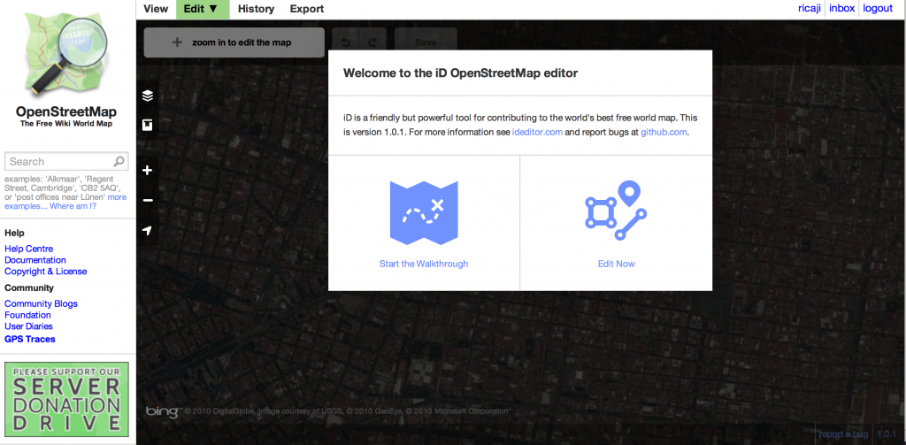 OpenStreetmap editing with ID