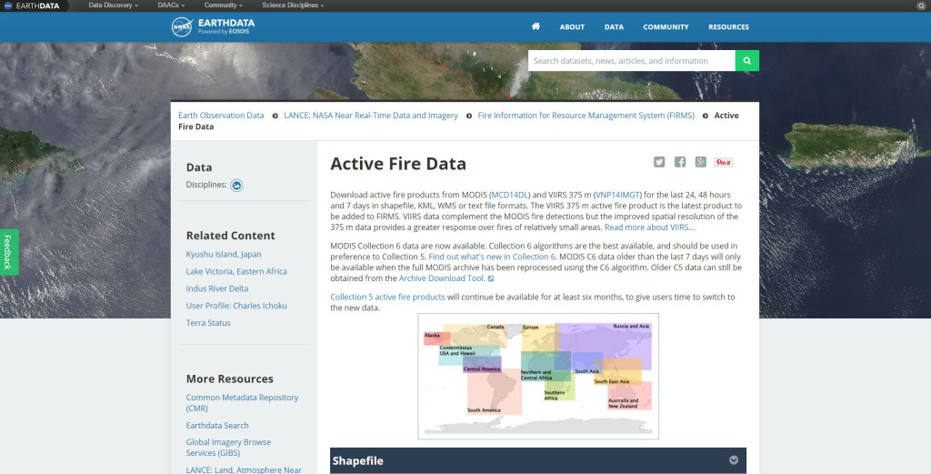 Active Fire Data site