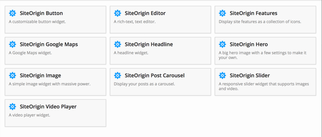 Site Origin Widgets